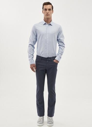 Beymen Business Kareli Slim Fit Uzun Kollu Gömlek Mavi